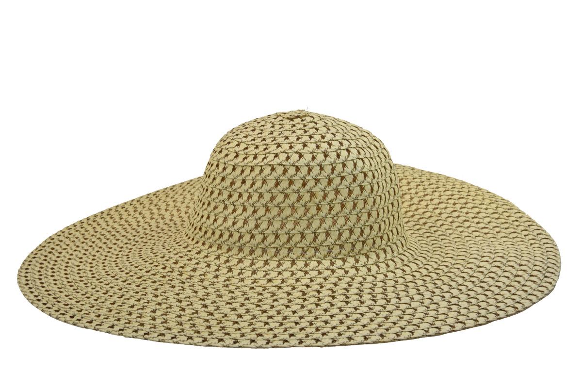 Široký dámský letní klobouk slámové barvy s hnědým prošitím 34b5d671e7