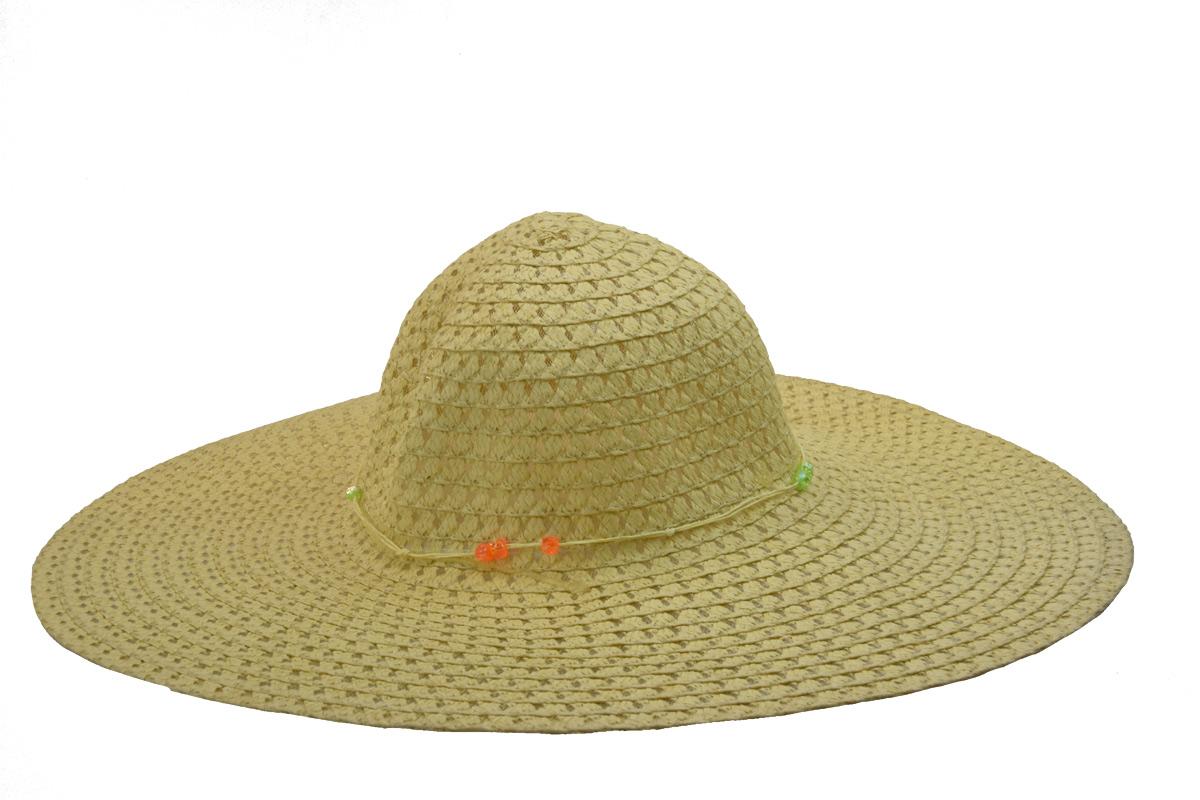 Široký dámský letní klobouk v přírodní barvě zdobený korálky