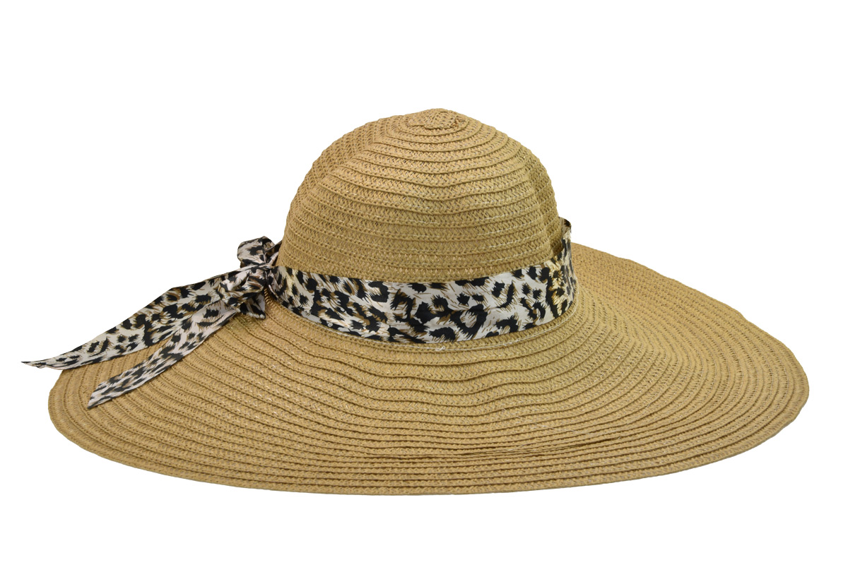 Dámský letní klobouk světle hnědé barvy s tygrovanou mašlí