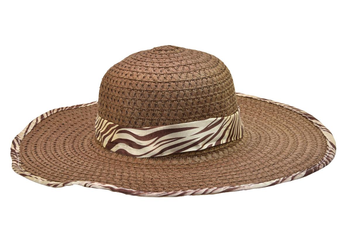 Dámský letní klobouk hnědý se stuhou a obšitím s motivy zebry
