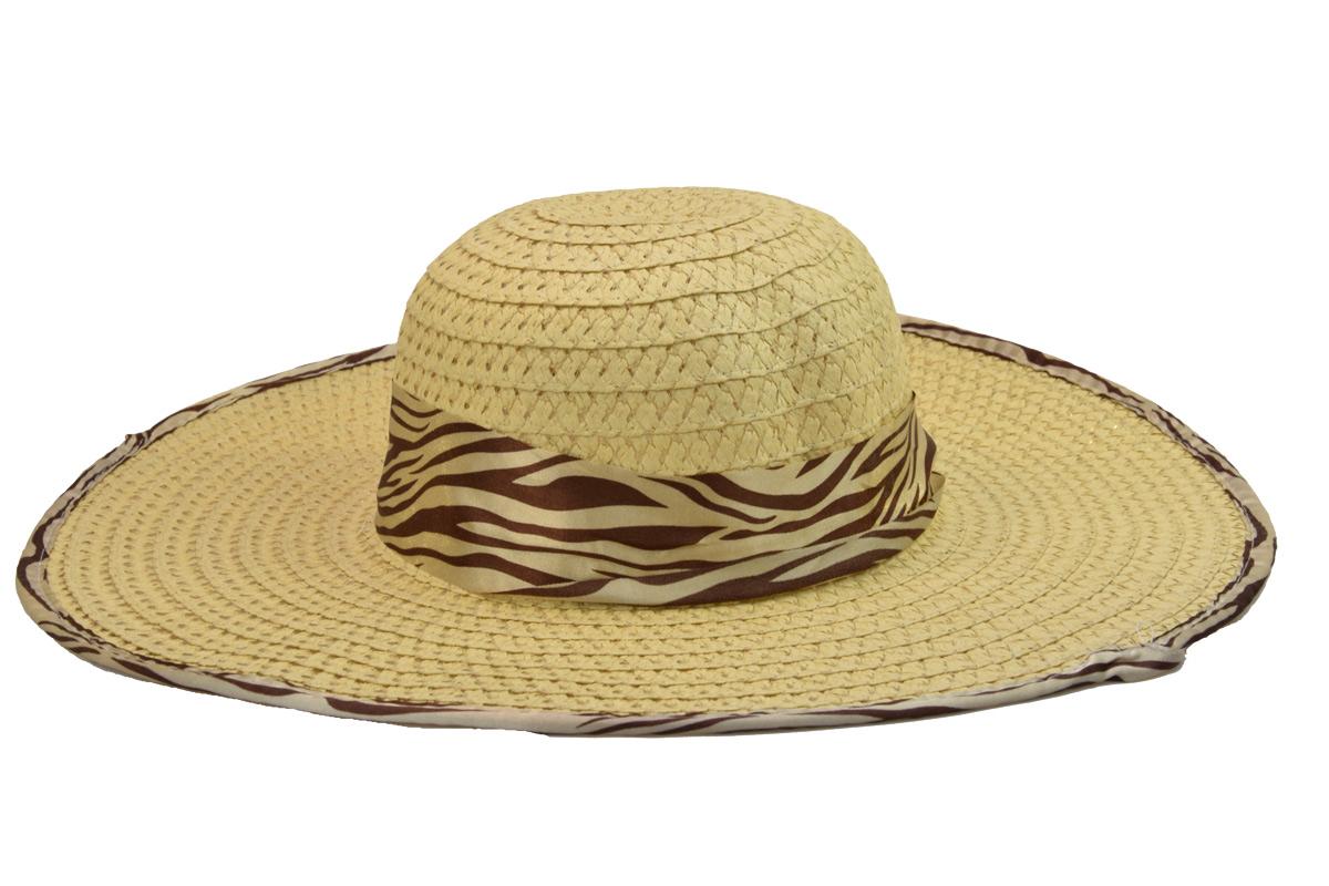 Dámský letní klobouk slámové barvy se stuhou a obšitím s motivy zebry df49ed3a2f