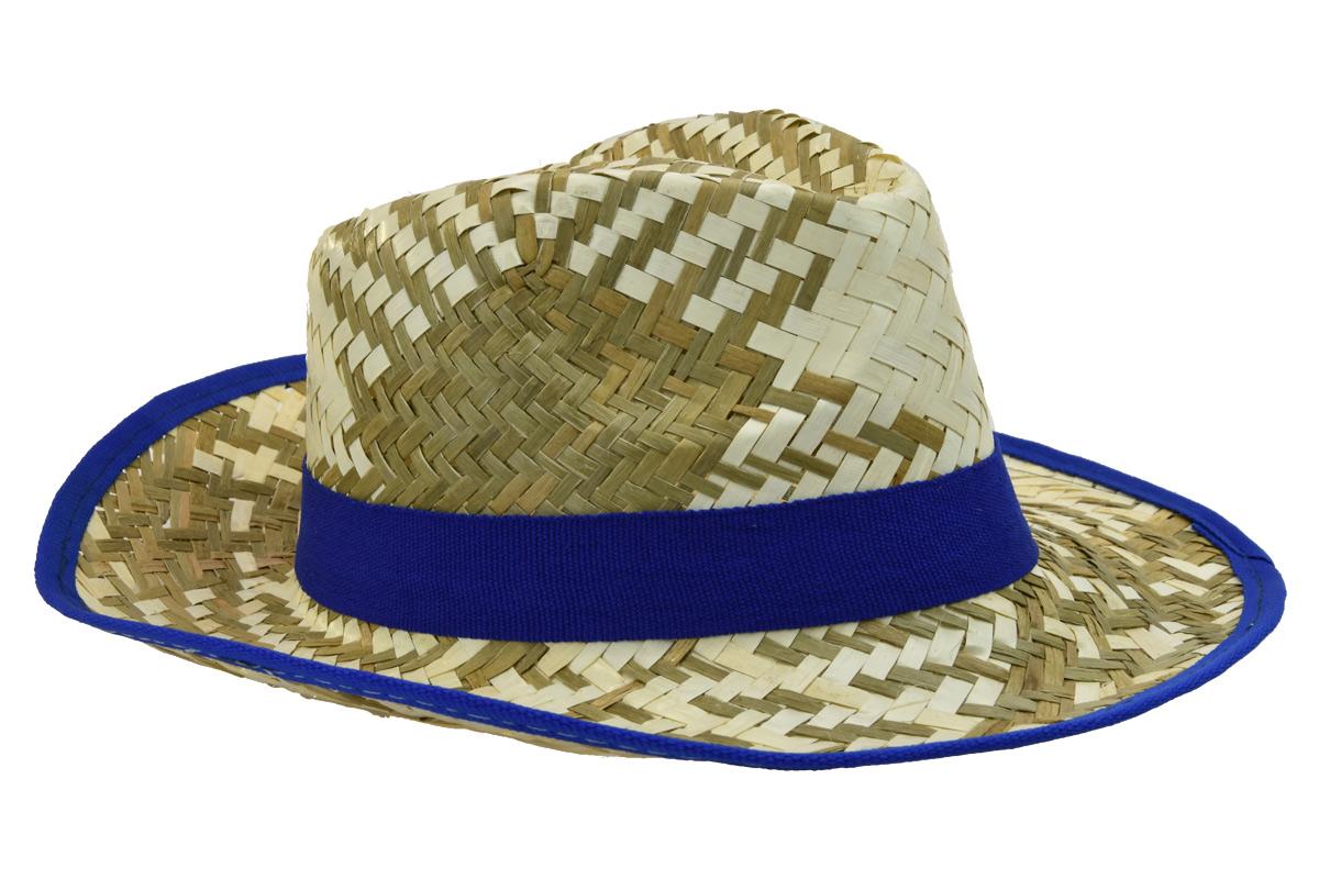 Pánský slaměný letní klobouk s modrým lemem 2dc33977ea