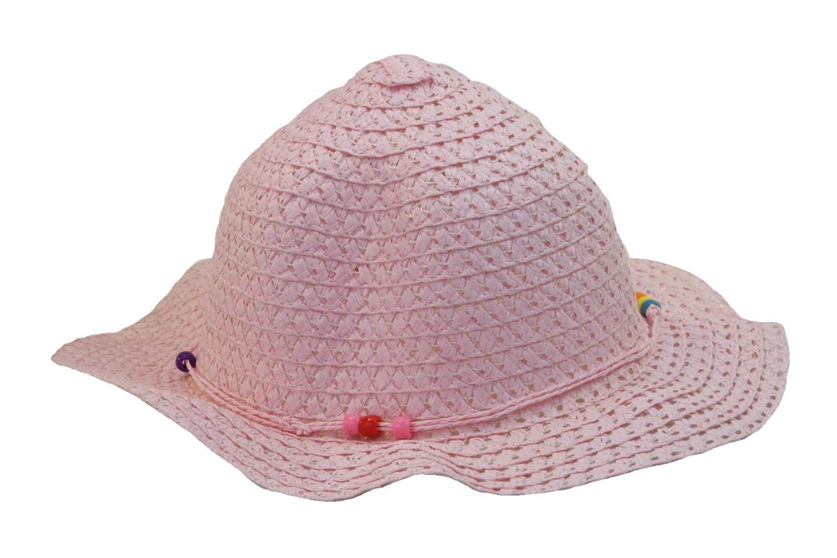 Růžový dětský slaměný klobouk