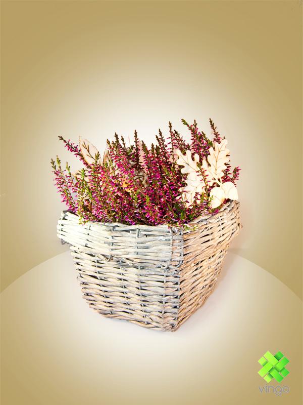 Hranatý šedý květináč