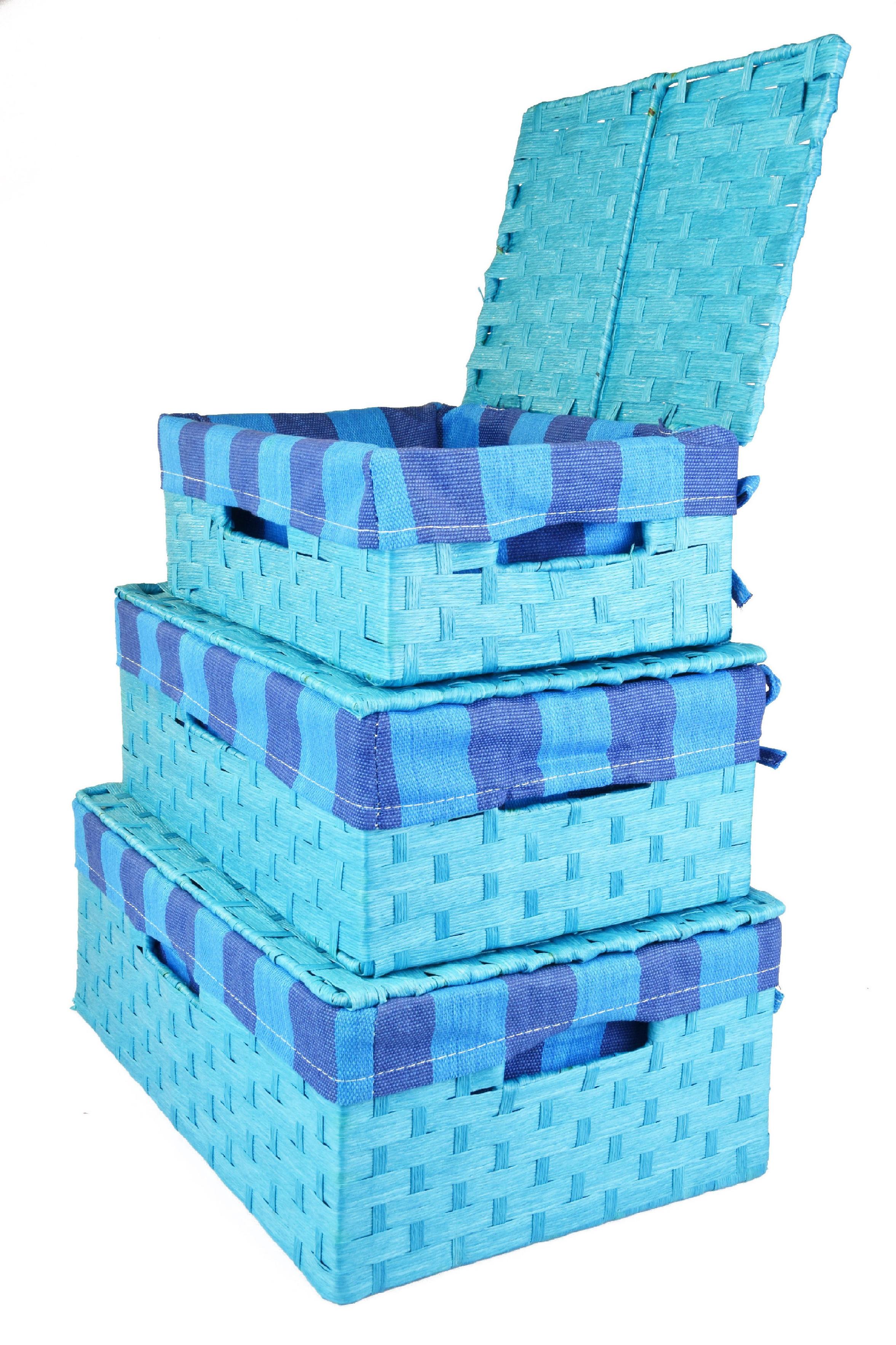 Úložný box s víkem světle modrý rozměry boxu (cm): Sada 53x53x19|48x30x17|40x27x15|36x24x13|30x21x11