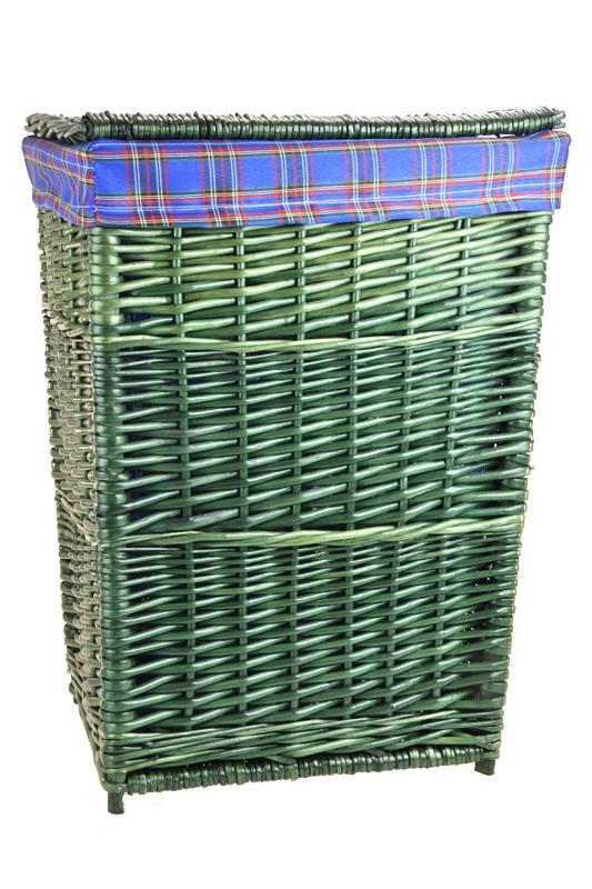 Zelený proutěný koš na prádlo s modrou látkou Rozměry (cm): 39x34, v. 52