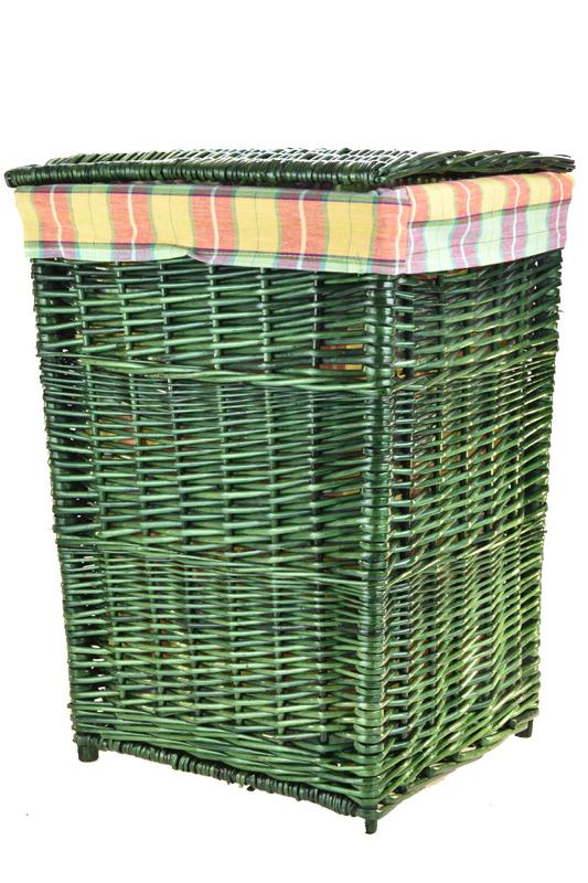 Zelený proutěný koš na prádlo s oranžovou látkou Rozměry (cm): 39x34, v. 52