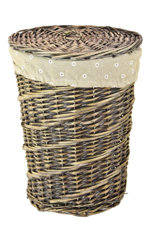 Proutěný koš na prádlo kulatý se šedou patinou Rozměry (cm): průměr 30, v. 40 cm