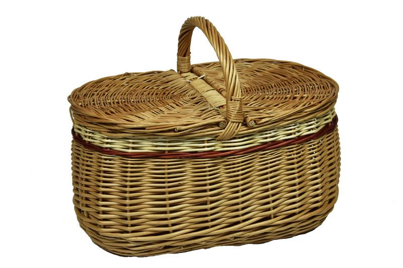 Proutěný piknikový koš baculatý zdobený
