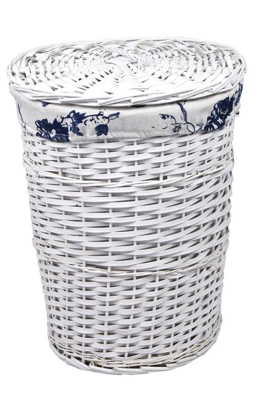 Bílý proutěný koš na prádlo kulatý Rozměry (cm): sada