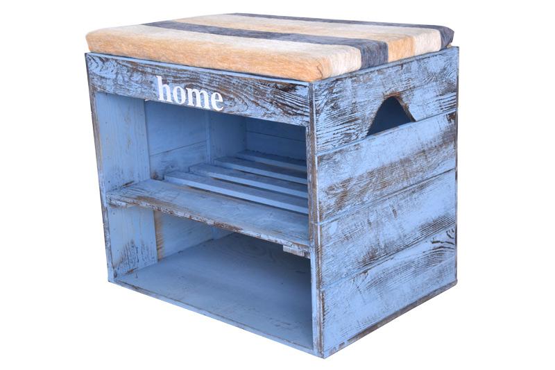 Dřevěný botník s lavicí modrý