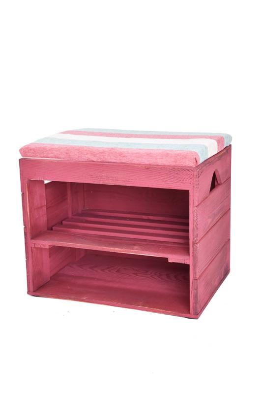 Dřevěný botník s lavicí červený