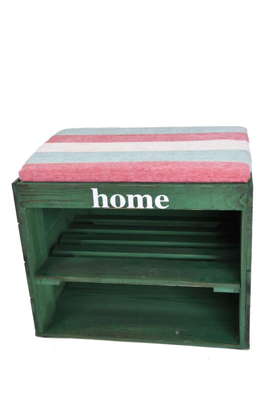 Dřevěný botník s lavicí zelený