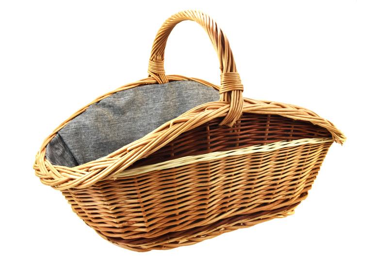 Proutěný koš na dřevo - šedá textilie