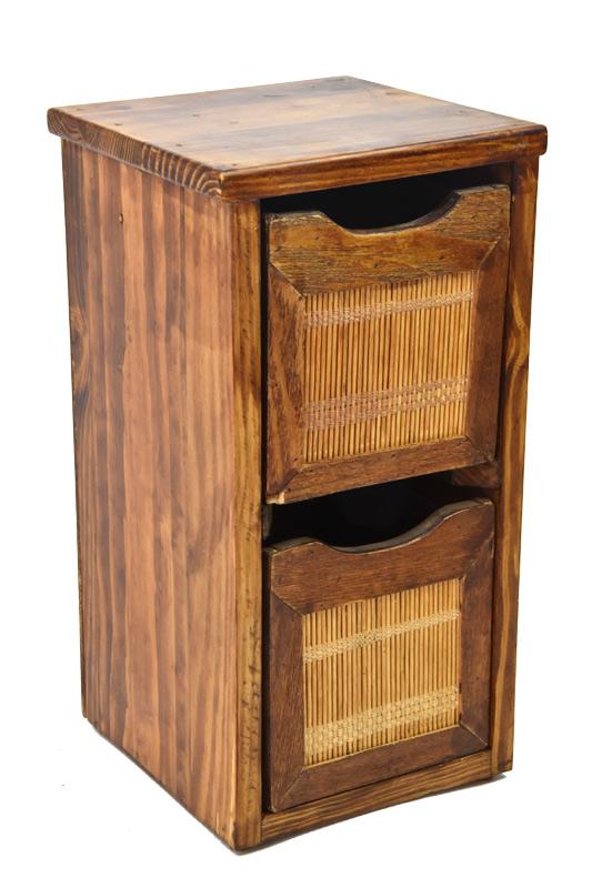 Skříňka se 2 zásuvkami s bambusem