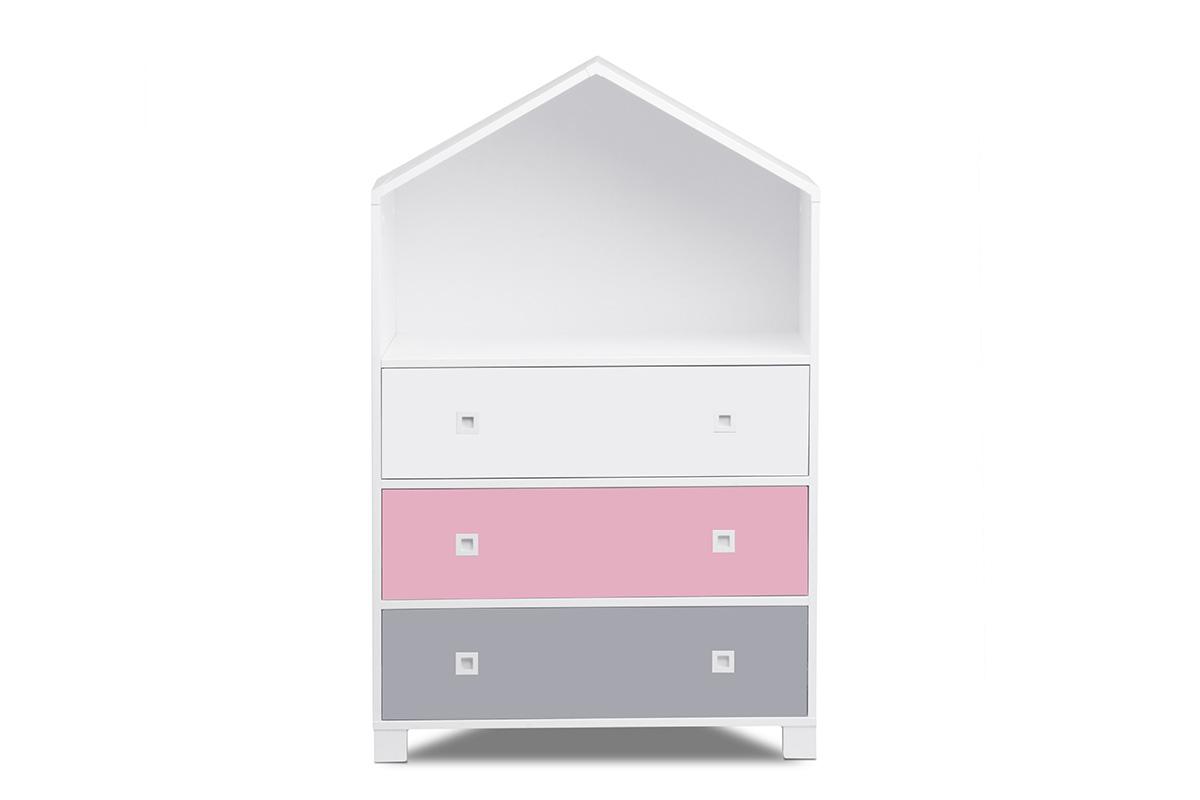 Dětská komoda domeček - růžová