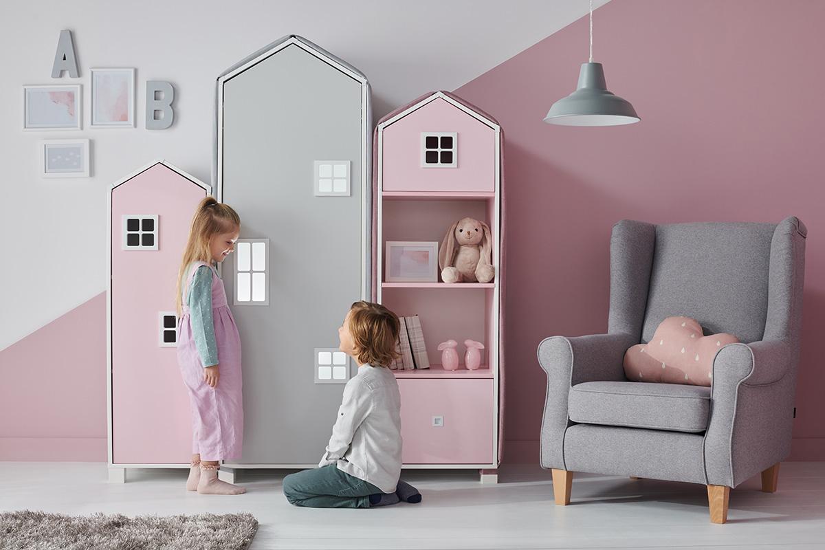 Dětská knihovna domeček - růžová