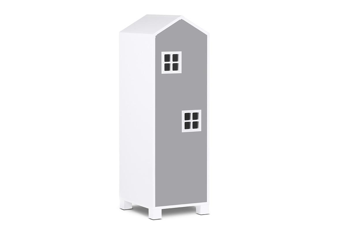 Dětská skříň domeček 126 cm – šedá
