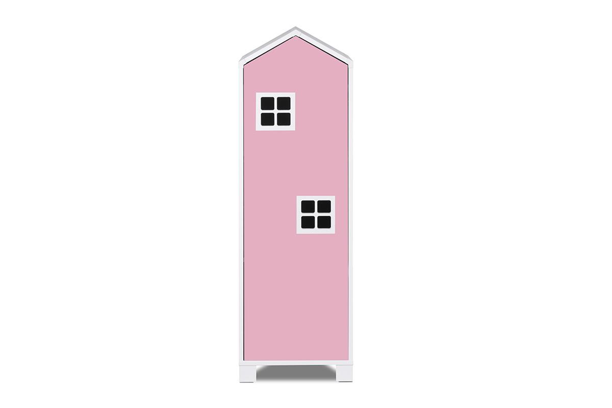 Dětská skříň domeček 126 cm - růžová