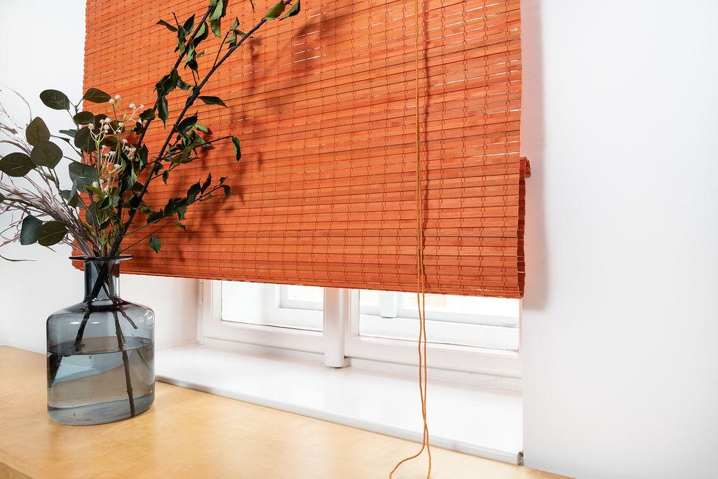 Bambusová římská roleta oranžová Šířka rolety: 60 cm, Rozvin rolety: 150 cm