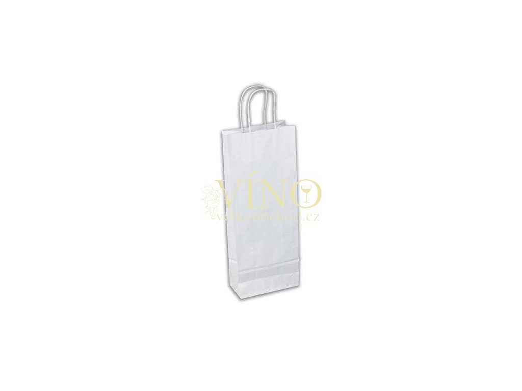 Dárková papírová taška 15x8x40 cm na víno 1 láhev 0,75 l sulfát bílý