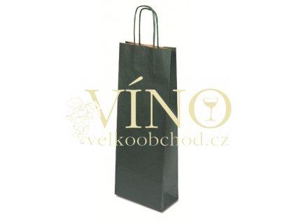 Dárková papírová taška 15x8x40 cm na víno 1 láhev 0,75 L sulfát zelený