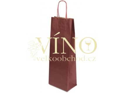 Dárková papírová taška 15x8x40 cm na víno 1 láhev 0,75 l sulfát bordó