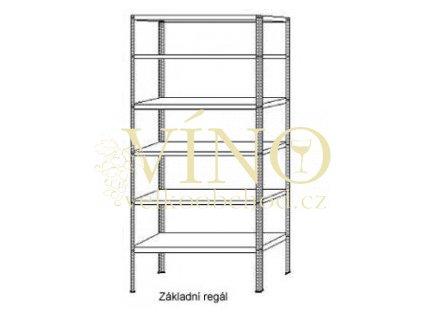 Základní celokovový regál 2500x1000x600 mm zinkovaný, 5 polic, nosnost 150 kg na polici