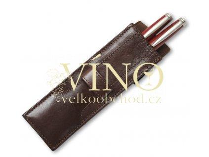 Luxusní kožené pouzdro na dvě pera - PENS - barva hnědá