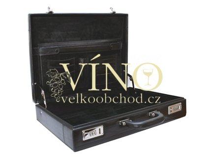 Kožený kufřík - ATTACHE - barva černá