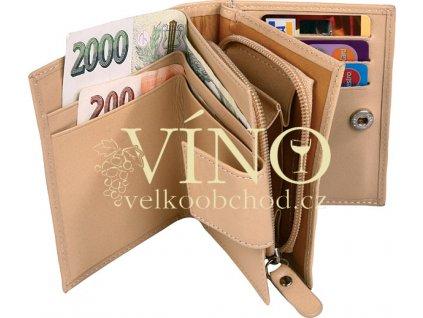 LEK kožená dámská peněženka v dárkovém balení, béžová