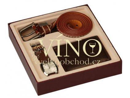 Dárková kazeta - imitace kůže, hodinky + opasek + peněženka