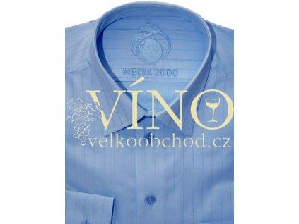 Košile pánská, dlouhý rukáv - RUHT 017 VIENNA, nebesky modrý proužek 100% Bavlna TWO PLY