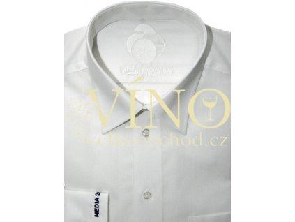 AKCE Košile pánská, dlouhý rukáv - RUHT 006 BUDAPEST, sněhově bílá 100% Bavlna NON IRON