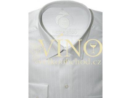 Košile pánská, dlouhý rukáv - RUHT 007 GENEVA, sněhově bílý proužek 100% Bavlna TWO PLY