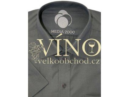 AKCE Košile pánská, krátký rukáv - RUHT 026 VALENCIA pánská košile krátký rukáv, tm. khaki 100% Bavlna EASY CARE