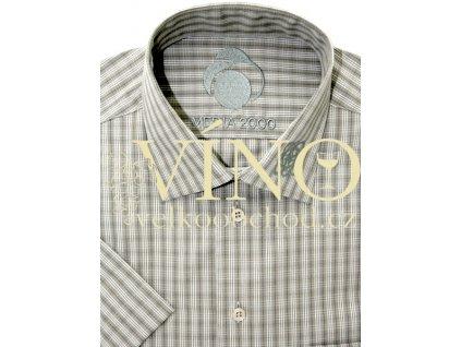 Košile pánská, krátký rukáv - RUHT 001 TEXAS, khaki 100% Bavlna NON IRON