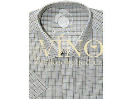 Košile pánská, krátký rukáv - RUHT 023 LISBON, bílá/khaki vzor kostka 100% Bavlna NON IRON