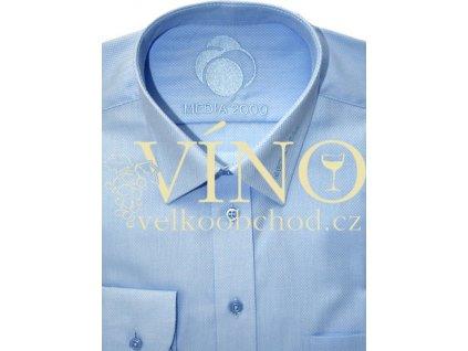 Košile pánská, dlouhý rukáv - RUHT 022 MANCHESTER, sv. modrý vzor 100% Bavlna