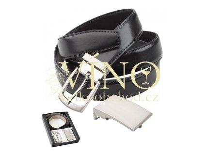TWICE pánský kožený opasek s dvěma sponami v černé krabičce André Philippe, černý