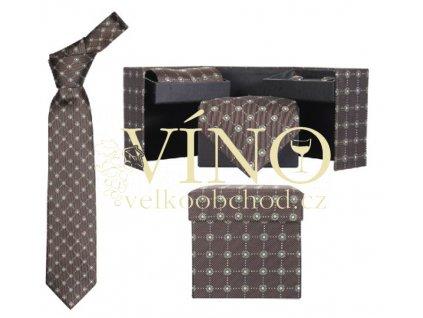 André Philippe set CLERGOUX - kravata hedvábná + manžetové knoflíčky + kapesník, hnědá