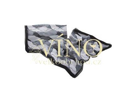 ELITE dámský šátek 45% hedvábí + 55% polyester, černý vzor