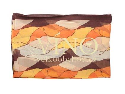 ELITE dámský šátek 45% hedvábí + 55% polyester, hnědý vzor