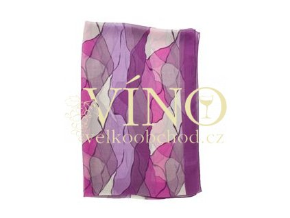ELITE dámský šátek 45% hedvábí + 55% polyester, fialový vzor