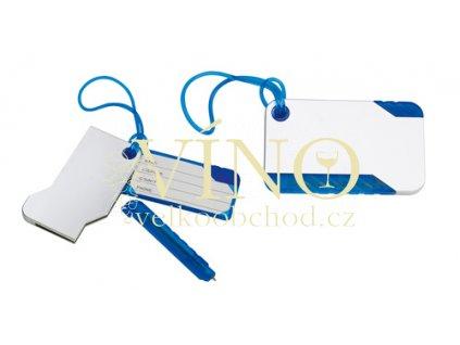 Visačka na zavazadlo s perem, modrá