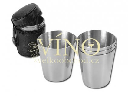 CUP SET II sada 4 pohárků, chrom