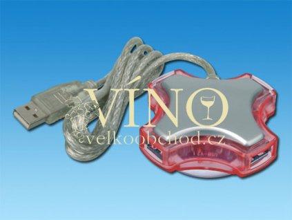 USB HUB 2.0, transp., frosty červená