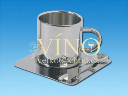 COFFEE SET hrnek s podšálkem a lžičkou, chrom