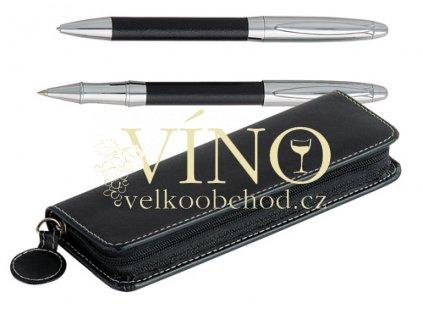 GREIP kožený set - kuličkové pero + roller + penál, černá