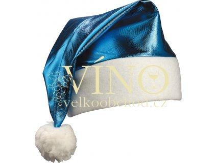 SHINY SANTA HAT MB9503, vánoční lesklá čepička, modrá